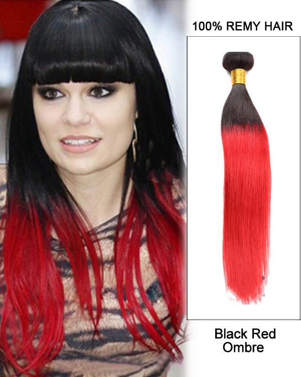 """14"""" Black Red Ombre Hair Two Tones Hair Weave St…"""