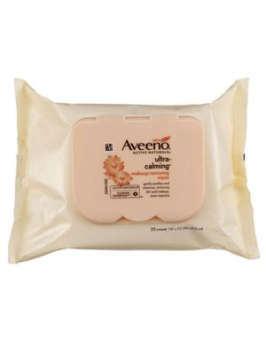 Aveeno Ultra Calming Makeup Removing Wipes gently cleans and calms sensitive skin