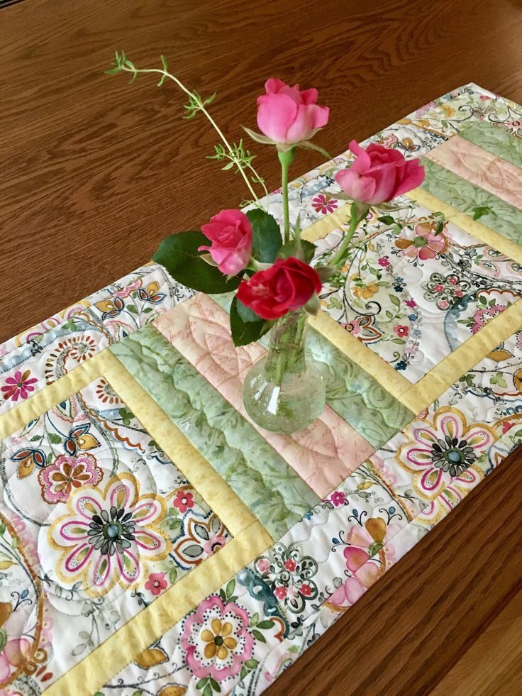 Quilted Table Runner, SummerTime Table Runner, Handmade Table Runner, Traditional Table Runner by birdsongquilts on Etsy