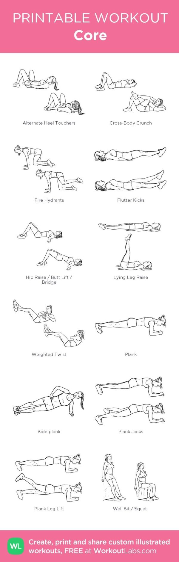 core my custom printable workout by workoutlabs fitness - Printable Printable