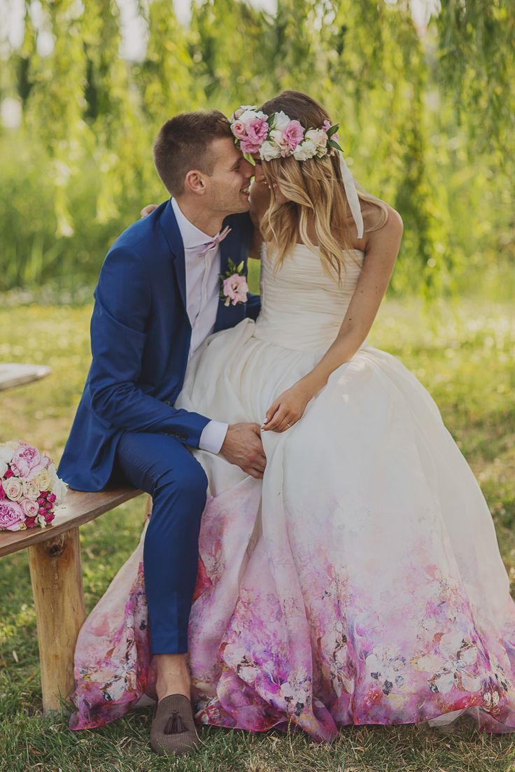 Daalarna bride Barbara chose this flower printed silk organza gown for her wedding day