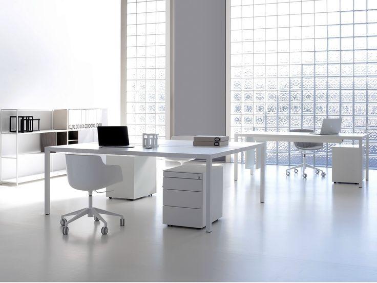 Rectangular powder coated aluminium workstation desk DESK 3.0   Office desk - MDF Italia