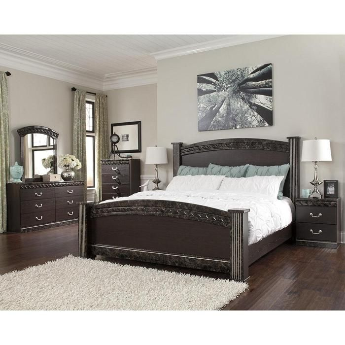 vachel 4piece king poster bedroom set in dark brown nebraska furniture mart