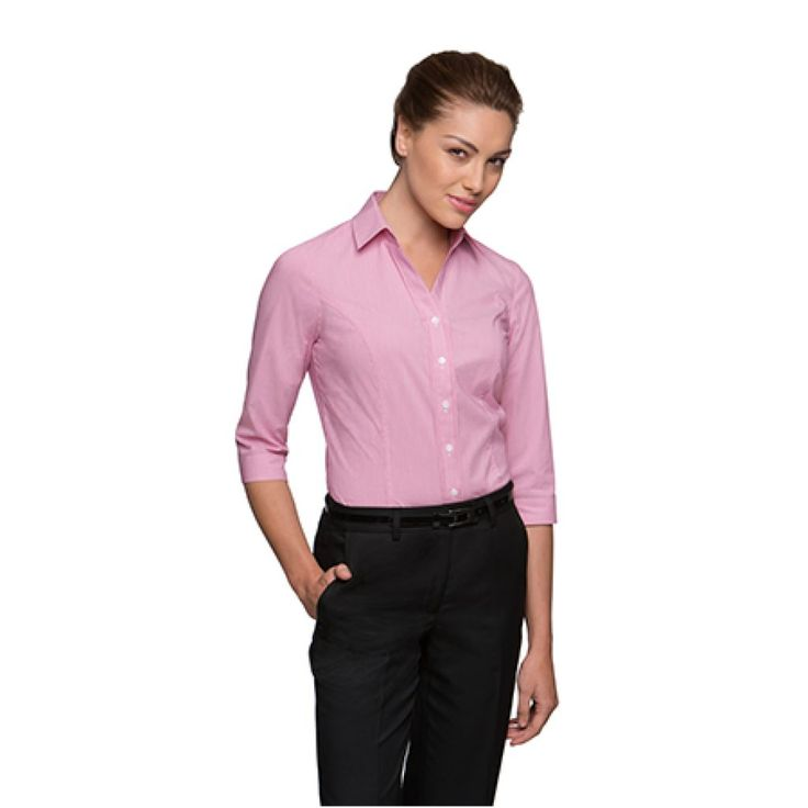 City Collection Stretch Pinfeather 3/4 Sleeve Shirt – 2265