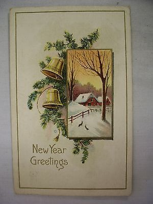 VINTAGE EMBOSSED NEW YEAR POSTCARD NICE WINTER SCENE W/ GOLD BELLS & SPRUCE 1914