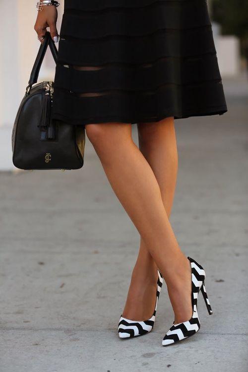 Black & White Chevron Print Heels -- 20 Trendy Shoe Styles On The Street - Style Estate -