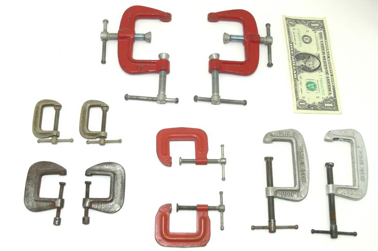 Vintage clamp lot-C clamp lot-wood clamp tools-old clamp lot-machine age clamps-woodworking clamps-industrial clamps-wood clamp collection by BECKSRELICS on Etsy
