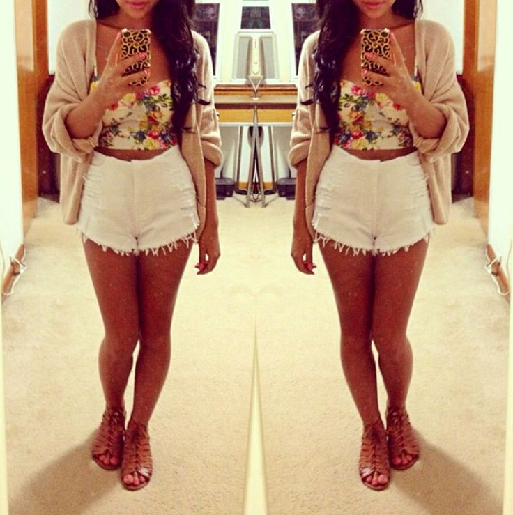 441 best booty shorts outfit images on Pinterest | Feminine fashion Casual wear and For women