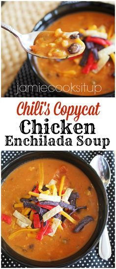 Chili's Copycat Chicken Enchilada Soup from Jamie Cooks It Up! You can make this in 30 minutes!
