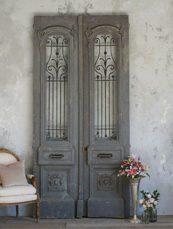 Attractive Antique Doors In The Interior French Doors Wall Decorating Ideas Shabby  Chic Decor