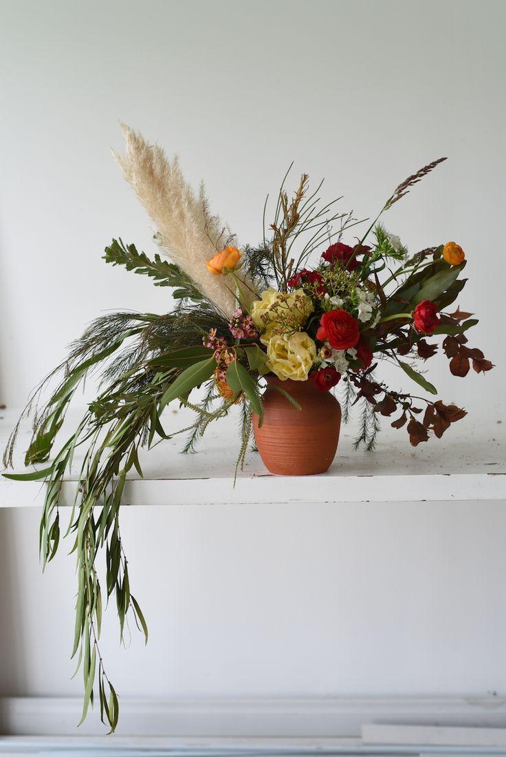 September flowers, spring, tulips, ranunculus, grasses, pampas grass, dianthus, sweet william, cascading