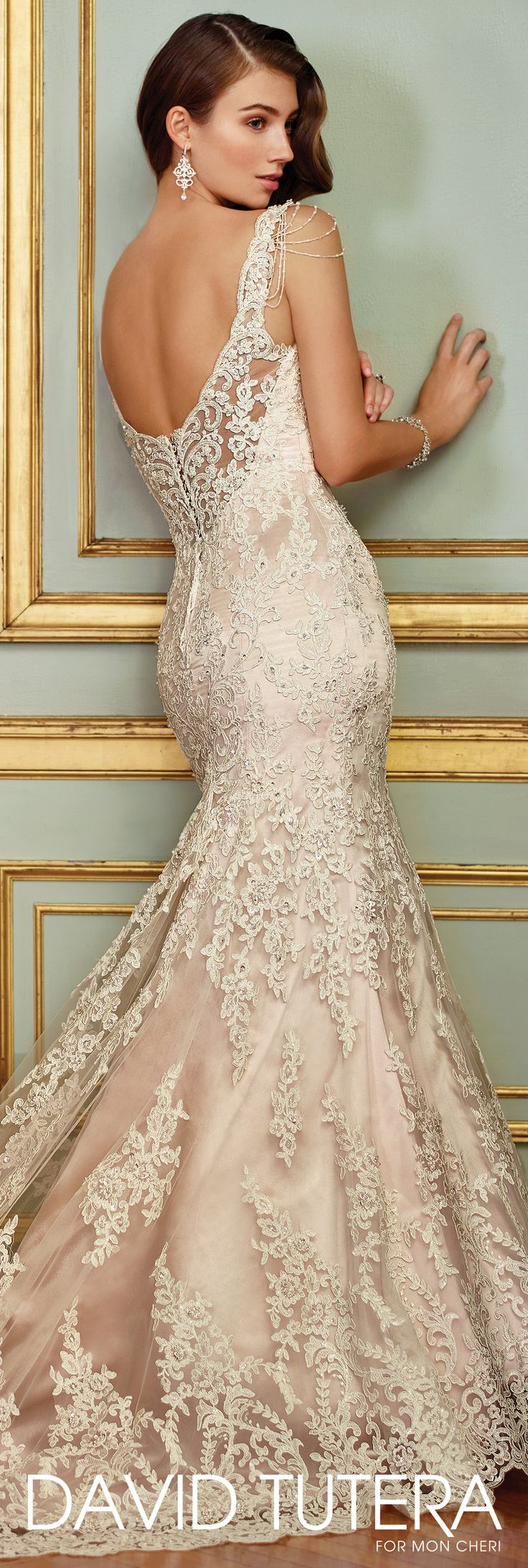 David Tutera for Mon Cheri Spring 2017 Collection - Style No. 117288 Ophira - sleeveless lace trumpet wedding dress with low scooped illusion back
