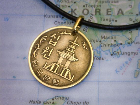 South Korea ( 10 Won ) - Genuine Coin Pendant - Real Leather Necklace w/Clasp - ( Choose Length ) - Unique Gift (1-C4)