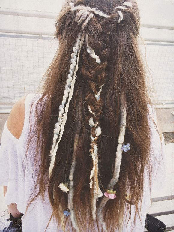 if you don't want to commit to full dreadlocks - a soft, sweet, loose, woven-through look w/clip-on extensions