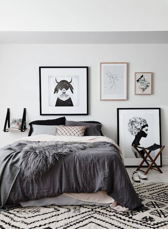 77 Gorgeous Examples of Scandinavian Interior Design Scandinavian-bedroom-with-dark-prints