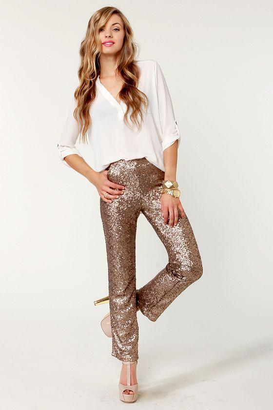 Glittering Bronze Pants - Sequin Pants - Brown Pants