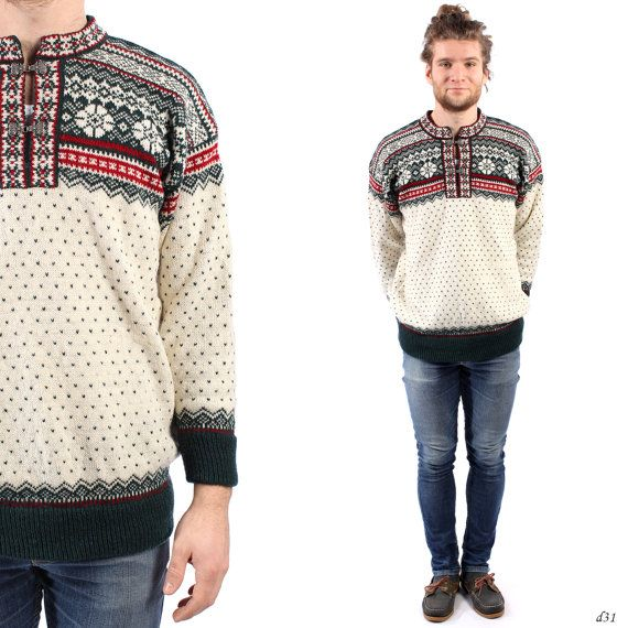 Mens Nordic Sweater . Thick Wool Winter Sweater . Double Knit Sweater . Scandinavian Sweater . Medium to Large