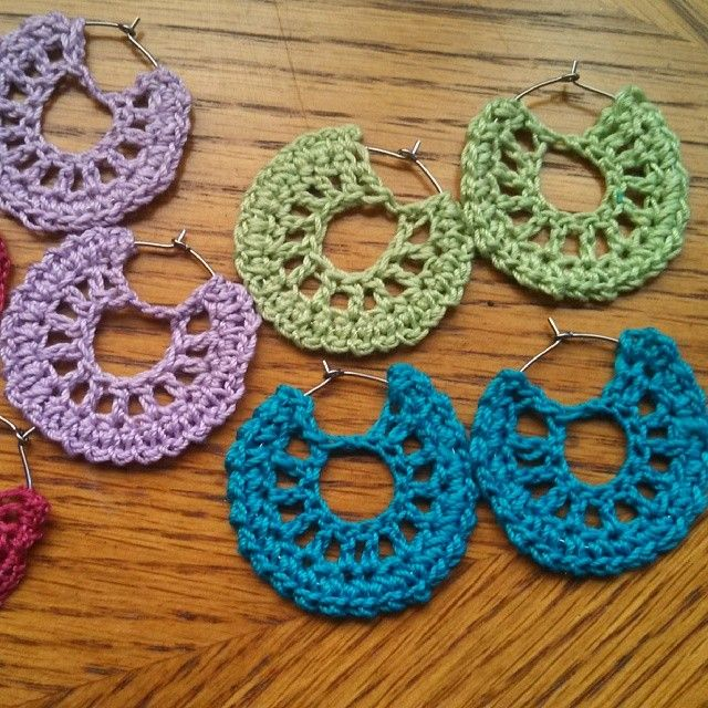 Be unique and crochet some style on some hoop earrings.