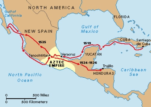 Hernan Cortes Exploration Route Map: Map Of Cortes Route
