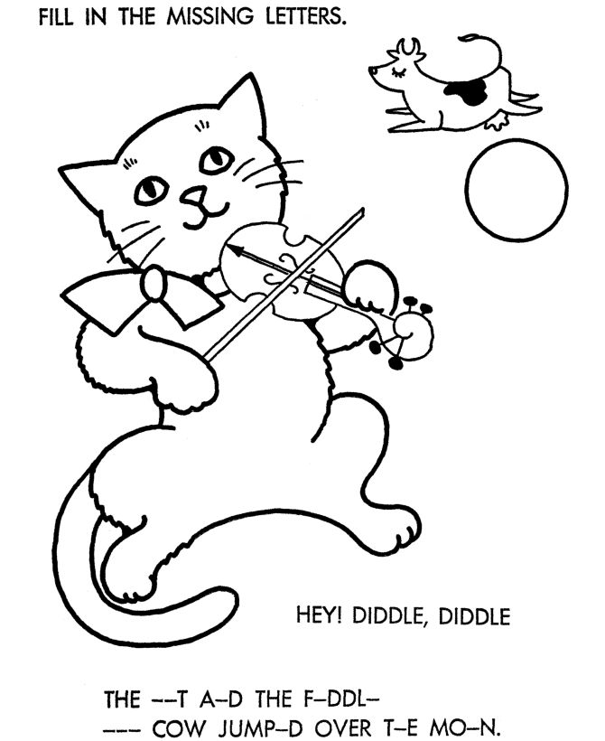 Bluebonkers nursery rhymes coloring page sheets hey diddle coloring home pages