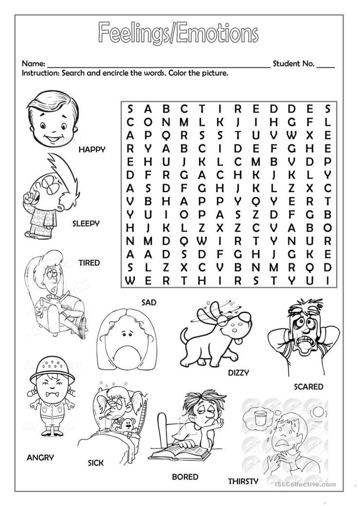 Lms Detalles De La Actividad English Worksheets For Kids Feelings And Emotions Feelings Activities Emotions worksheets for kindergarten pdf