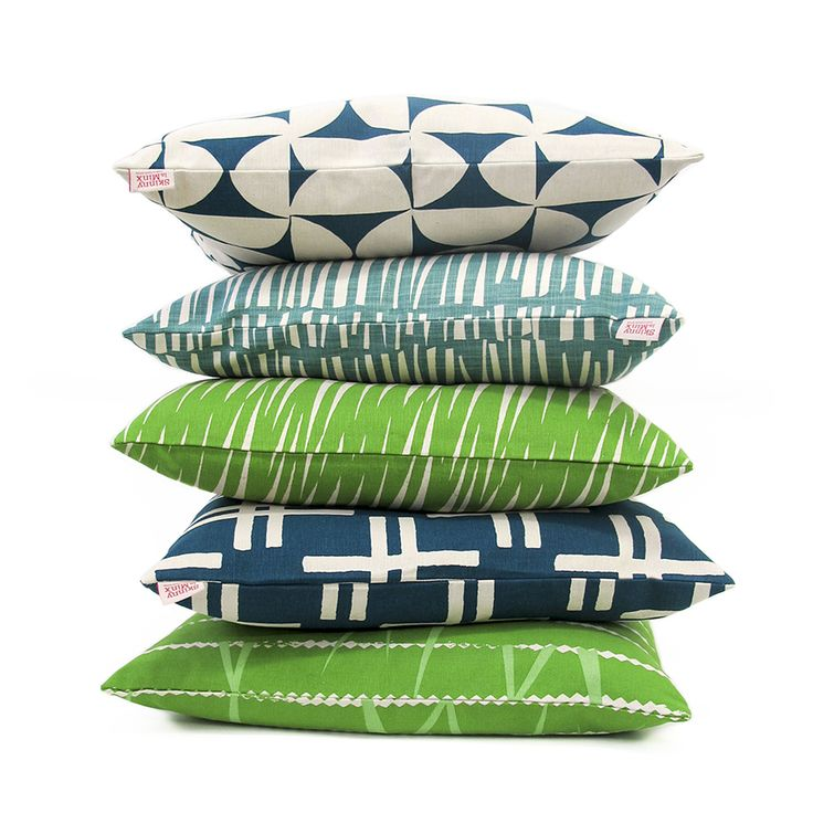 These cushions by Skinny laMinx in tropical blues and greens are great for adding colour to your patio and outdoor seating areas.
