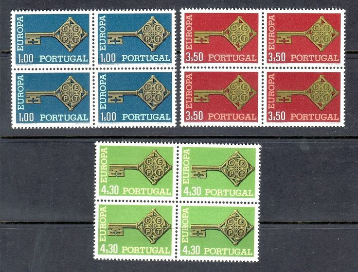 PORTUGAL 1968 SCOTT# 1019 1020 1021 EUROPA CEPT BLOCK OF 4 STAMPS, MNH