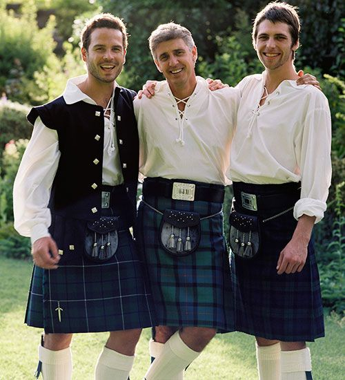 Traditional Men in Kilts for Weddings worn with Ghillie Shirt