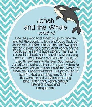 JONAH AND THE WHALE STORY HOUR - TeachersPayTeachers.com: