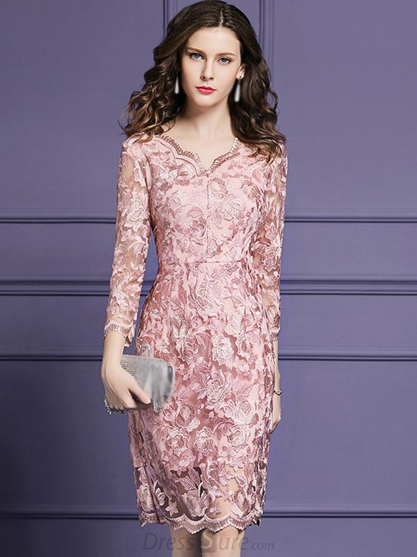 bb626db8fa267 Buy Elegant V-Neck 3/4 Sleeve Lace Fit & Flare Dress at DressSure.com  Color:Pink; Size:M, L, XL, 2XL, 3XL, 4XL; Material:Lanon; Style:Party; ...