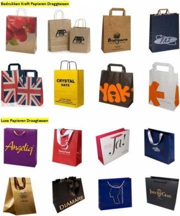 Bedrukte papieren draagtas #Verpakkingen #draagtassen