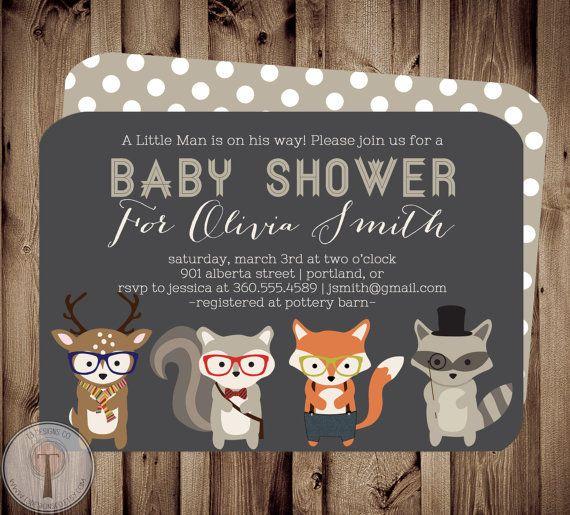 Forest Friends BABY Baby Shower Invitation, baby shower invite, Woodland Baby Shower, animals, deer, hipster, neutral, woodland animals