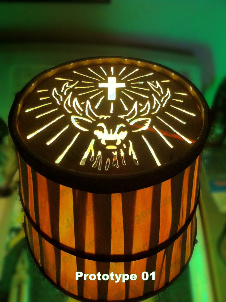 Jäger Lamp for sale in early 2014. This was prototype 1's lampshade. Jagermeister Lamp #jagerlamp