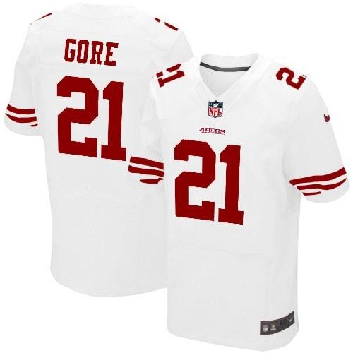 Nike Elite Mens San Francisco 49ers http://#21 Frank Gore White Color NFL Jersey$129.99