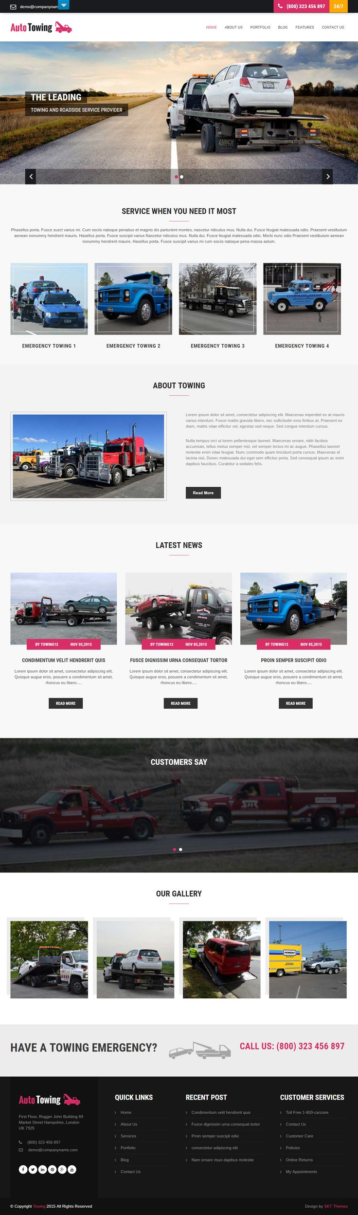 Free Transportation WordPress Theme for Towing of Trucks and Cars