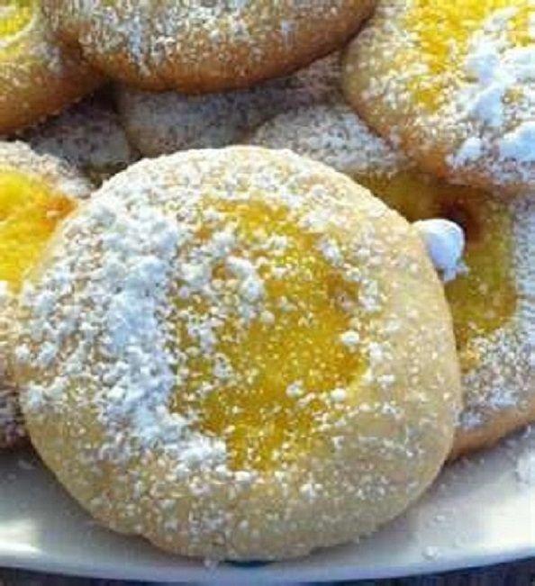 LEMON Thumbprint COOKIES * buttery shortbread with hint of lemon * LEMON CURD filling (homemade or storebought)