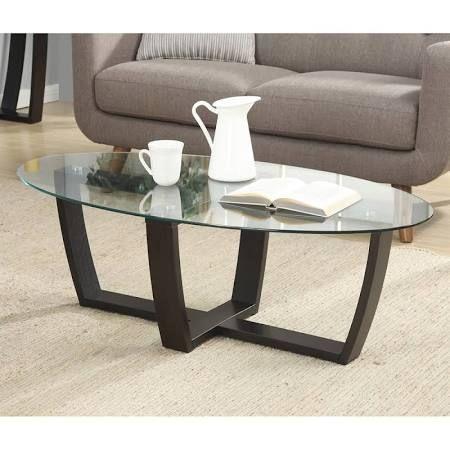 Convenience Concepts Newport Glass Top Coffee Table, Espresso | Coffee Tables | 121147