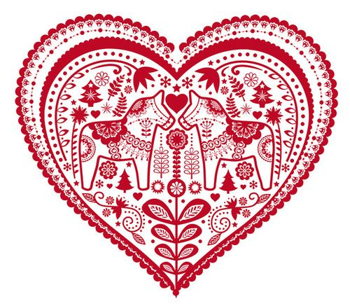 Scandanavian Paper Cut Heart with Dala Horses