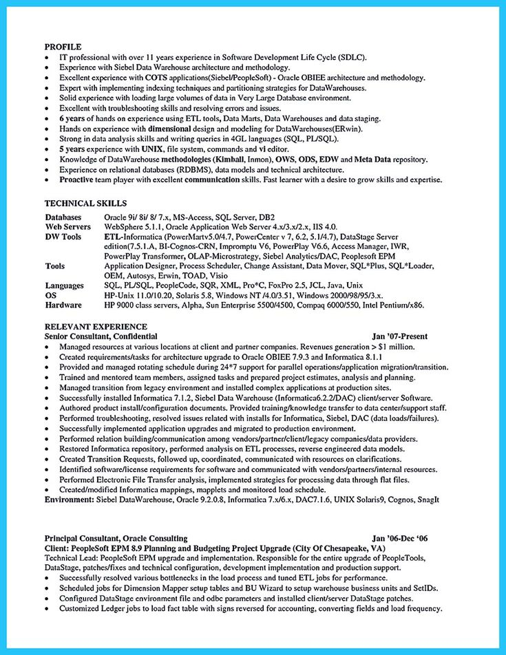system architect resume sles