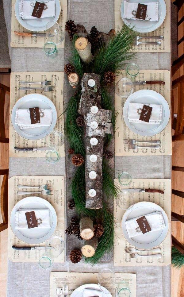 6 bonitos centros de mesa navideños: Mesa rústica decorada para navidad