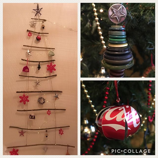 My Upcycled Christmas Tree Decorations Made From Drinks Cans Buttons Bells From Crackers Innocent Woolly Ha Christmas Tree Decorations Tree Decorations