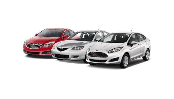 Buick Regal 2015 (left) - Mazda 3 2008 (centre) - Ford Fiesta 2016 (right)