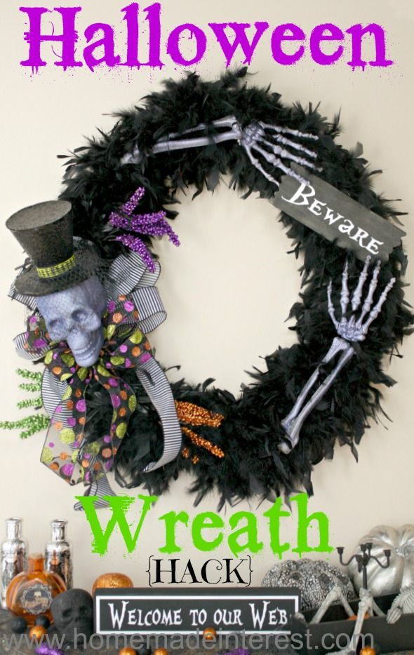 "Grandinroad ""Happy Haunting"" wreath knock-off.  I saved over $250 making it myself and so can you.  Bought most of my items at @michaelsstores.  @silhouettepins used my silhouette for the vinyl on thee ""beware"" sign.  Home. Made. Interest. 
