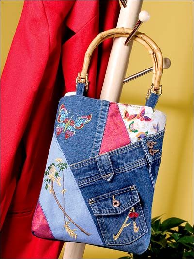 Stitched & Patched Denim Bag Pattern Download from e-PatternsCentral.com -- Here's a great way to combine embroidery practice stitchouts with an old pair of jeans to create this fun bag.