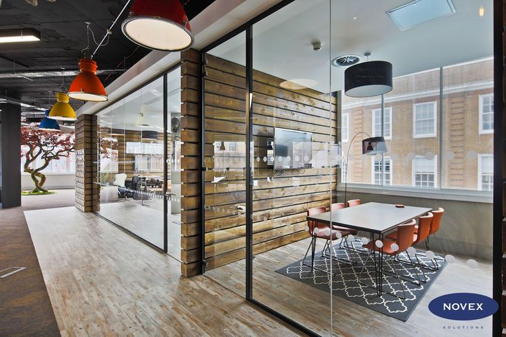 Rustic Office Design with Industrial Pendant lighting and Tree Sculpture #industrialofficedesigns