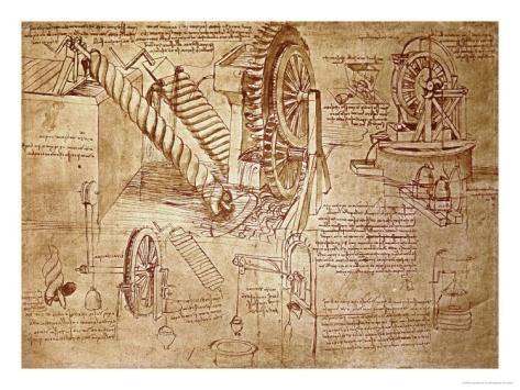 Archimedes Screws and Water Wheels, 1478-1518 Giclee Print by Leonardo da Vinci at Art.com