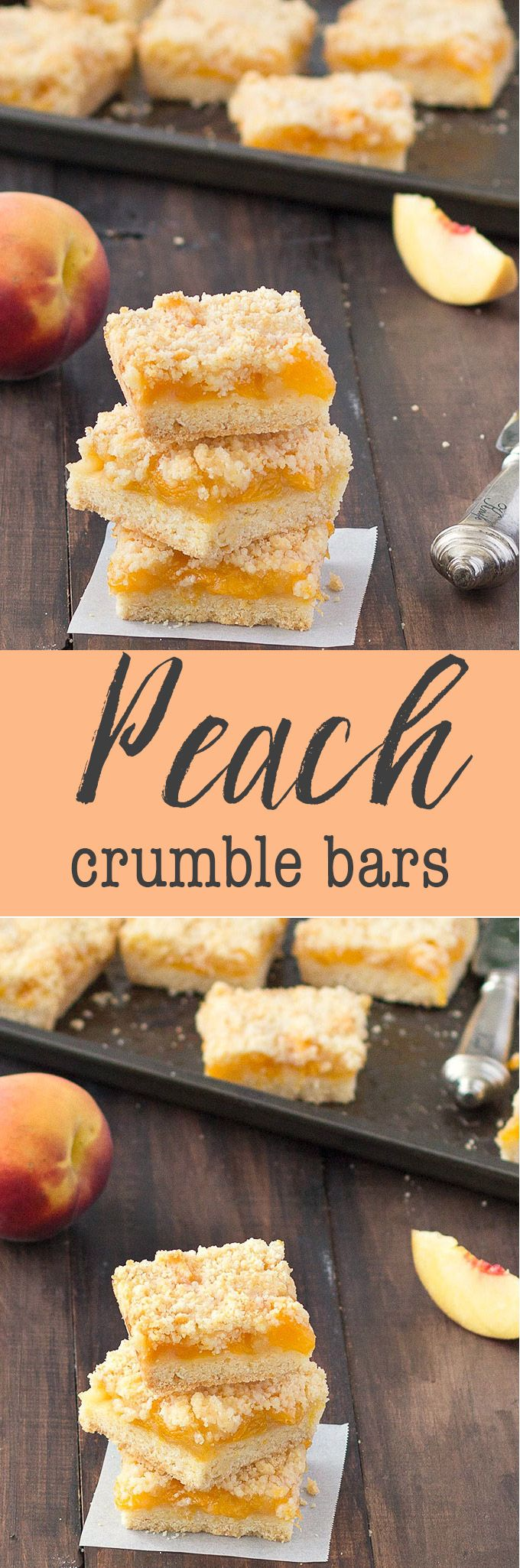 Peach Crumble Bars - the perfect way to use fresh peaches! Easy and delicious! via @easyasapplepie