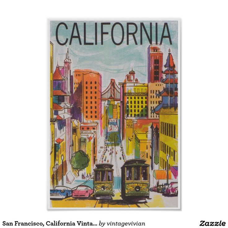 San Francisco, California Vintage Travel Poster