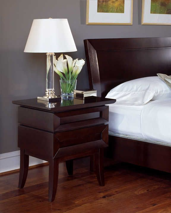 FFH nightstand - Cherry Wood Bedroom Furniture  Low Profile Bed  Modern  Bedroom Furniture 2753