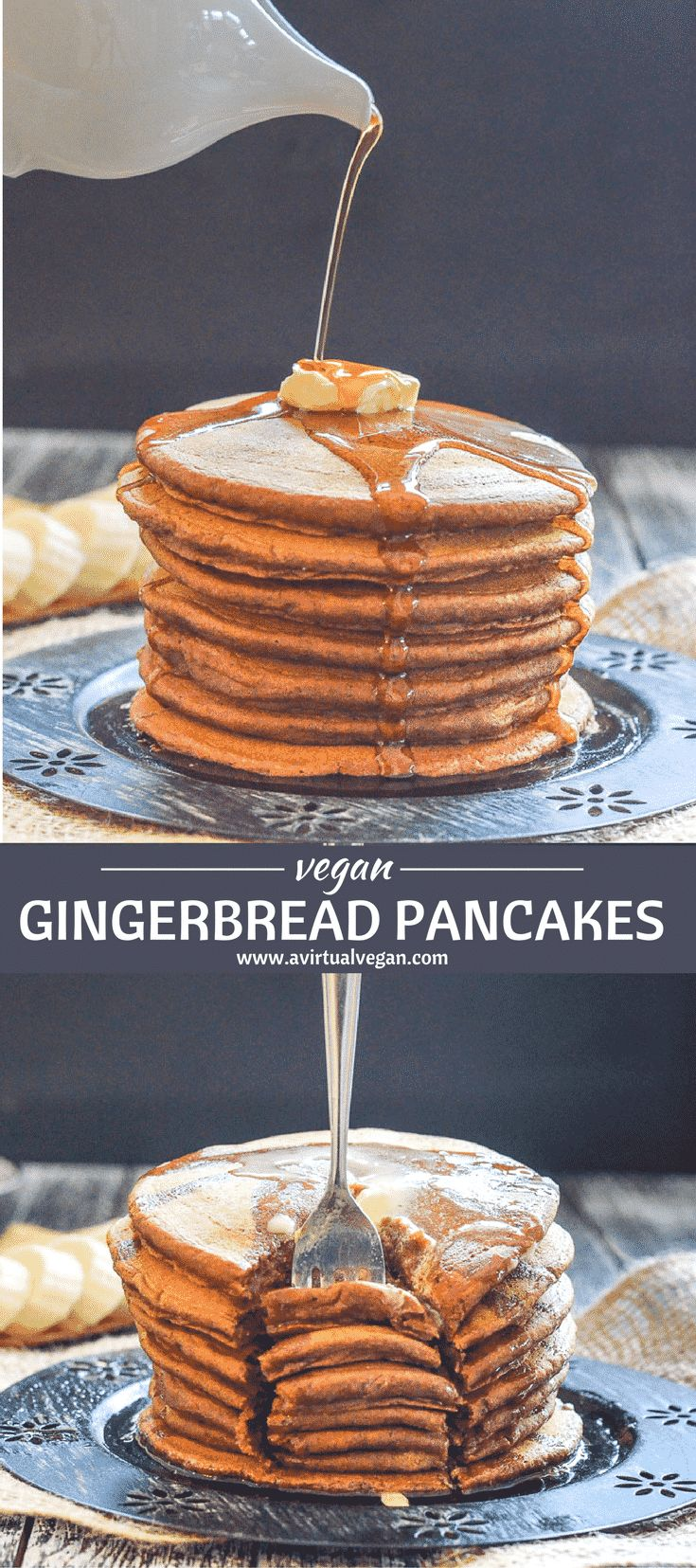 Soft, moist & fluffy Vegan Gingerbread Pancakes. Made healthier with wholegrain flour & not too sweet. Because...you know? TOPPINGS!! via @avirtualvegan